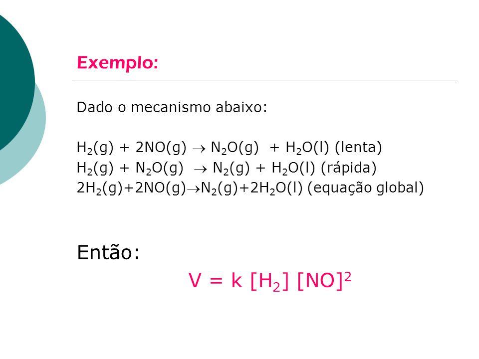 Então: V = k [H2] [NO]2 Exemplo: Dado o mecanismo abaixo: